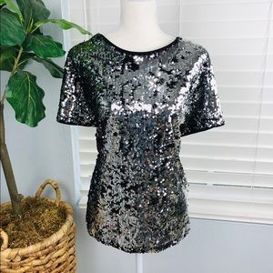 NWOT BLACK SILVER SEQUINS TOP